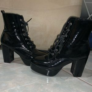 Black shiny lace up boots!